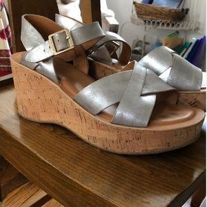 Kork Ease Metallic Cork Platform Sandal Wedges